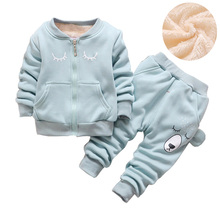 BibiCola Winter Suits For Boys Velvet Coats + Pants Kids Clothes Autumn Boys Clothing Sets Baby Girls Clothes Set Sport Suit