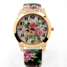 Hot Sale Promotion price Fashion Flower Round Dial Flexible stretch Band watch Quartz Wrist Bracelet Watch Women girl gift(China)