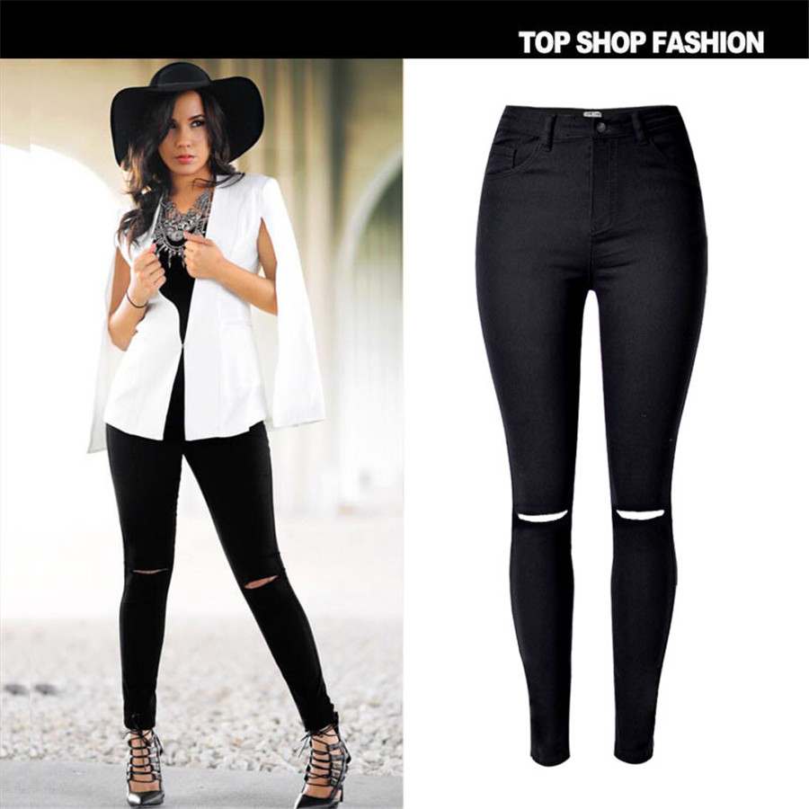 New 2017 Womens Jeans Fashion Black Color Skinny Pants Hight waist With Elasticity Cotton Trousers Fit Lady Jeans WomenОдежда и ак�е��уары<br><br><br>Aliexpress