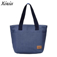2017 Waterproof Lunch Bag for Women Portable Food Bags Denim Lunch Bags Convenient Lunch Packet  A7713