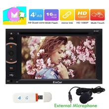 Android 6.0 Car Stereo Double Din In Dash DVD CD Player Support Bluetooth External Micro USB SD SWC WIFI Dual-CAM IN + 4G Dongle(China)
