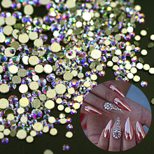 SWEET TREND Shining 1440 Pcs 1.3-3.2mm AB Color Gold Back Nail Rhinestones 3D Beauty DIY Crystal Nail Decor Accessory LANJ246