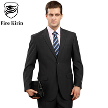 Fire Kirin Men Suit 2017 Latest Coat Pant Designs Brand-clothing Luxury Mens Suits Wedding Groom Black Gray Mens Formal Wear Q81(China)