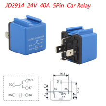 Car Relay 10pcs/lot DC 24V 40A 5 Pin Blue Car Power Flasher Car Power Relay Electronics Relay Switch Blink Flash Vehicle Logo