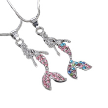Trendy crystal Rhinestone Mermaid Statement Pendant Necklace for Women Girl Jewelry 2017 new fashion sweater accessories(China)