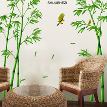 [SHIJUEHEZI] Green Bamboo Forest Wall Stickers Vinyl DIY Decorative Mural Art for Living Room Cabinet Decoration Home Decor(China)