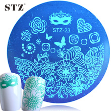 1PCS Fashion Beauty Mark&Flower Stencils Nail Art Stamp Plates Templates Round 5.5cm NEW Designs STZ23