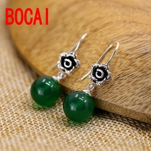 S925 Silver Green Chalcedony Earrings