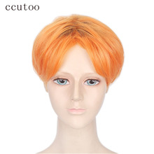 "ccutoo 12"" Orange Mix Short Straight Synthetic Wig Heat Resistance Men's Cosplay Full Wigs Hair(China)"