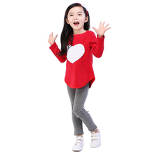 New Fall Clothing Sets Hair Band+1pc Shirts+1pc Pants Children's Set Girls Clothes Suits Pink Red Heart long Sleeved Three Piece(China)