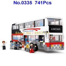 Sluban 0335 741pcs City Series Double-decker School Bus Building Block Brick Toy(China)