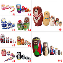 New Baby Toy Nesting Dolls Wooden Matryoshka Set Russian Dolls Hand Painted Home Decoration Birthday Gifts TY