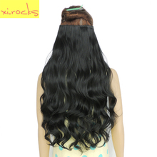 2 Piece Xi.Rocks 5 Clips for the Hair Extensions 28inch 120g Synthetic Clip in Hair Extension Curly Hairpiece Jet Black Color 1