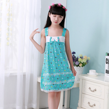 2016 new summer children's nightgowns  kids sleeveless pajamas  girl floral nightdress 2 pattern blue colour 3-12 years