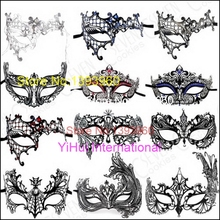 Black masquerade ball mask venetian dress women metal masks for sale party half face lady real mardi gras mask