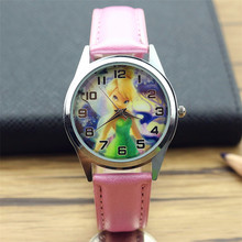 new arrived women fashion Princess Tinkerbell dial wristwatch girls cute cartoon Flower Fairy lovely gift watch for kids elf(China)