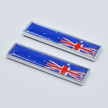 100 Pairs Chrome Metal Australia Flags Car Fender Stickers Emblems Decoration Australia Flag Car Door Trunk Styling Accessory
