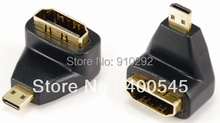 Gold Plated Micro HDMI male to HDMI female Adapter 90 Right Angle Mirco hdmi to hdmi adaptor(China)