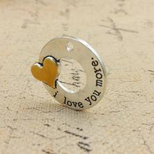 20pcs/lot 30mm I Love You More Massage Charms Alloy Wholesale 2016 Jewelry Finding