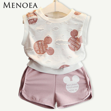 Menoea 2017 New Fashion Style Girls Clothing Sets Cartoon Print T-shirt+Short 2Pcs for Kids Clothes 3-7Y Sleeveless Boy Clothes