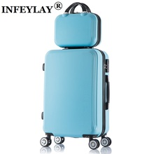 2PCS/set 20/24 inch fashion students trolley case women Cosmetic bag Travel luggage girl rolling suitcase business Boarding box
