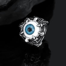 1 Pc New Fashion Men's Punk Vintage Dragon Claw Blue Evil Eye Skull Stainless Steel Biker Rings Jewelry Nice Gift