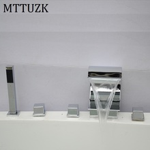 MTTUZK Widespread Waterfall Roman Deck Mounted 5pcs Bath Tub Tap Faucet Set Combo Handheld Shower Torneira Tap 5PCS/set(China)