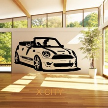 MINI COOPER CONVERTABLE FAMOUS CAR WALL ART STICKER VINYL TRANSFER DECAL DOOR WINDOW ROOM STENCIL MURAL DECORATION(China)