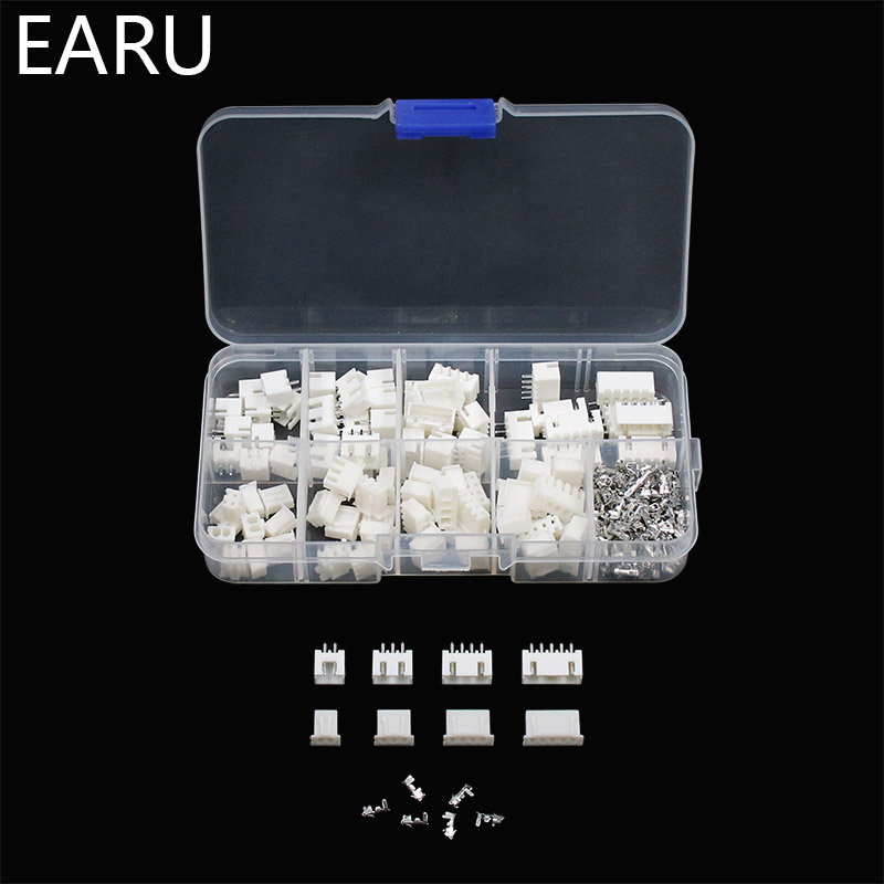 230pcs XH2.54 2p 3p 4p 5 pin 2.54mm Pitch Terminal Kit / Housing / Pin Header JST Connector Wire Connectors Adaptor XH Kits Box