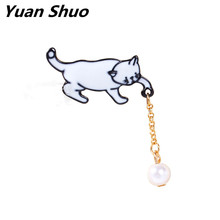 Japanese style lovely cat catch ball enamel brooch girl imitation pearl  badges Animal brooches pins Wholesale free shipping