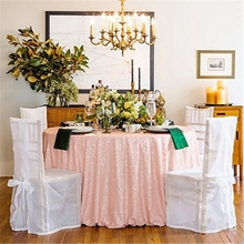 sequin tablecloth 132'' Round Elegant Pink Sequin Tablecloth To Table for Beautiful Embroidery Wedding Sequin Table Overlay