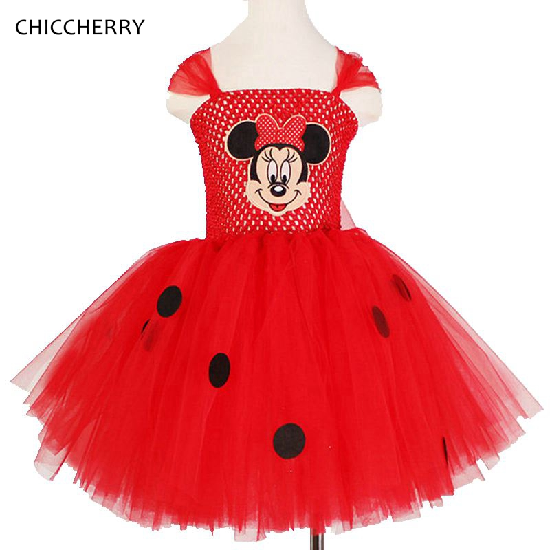 Red Minnie Lace Ruffle Tutu Classic Children Girl Dress Kids Birthday Outfit Cartoon Child Clothes Ropas Bebe Infant-clothing<br><br>Aliexpress