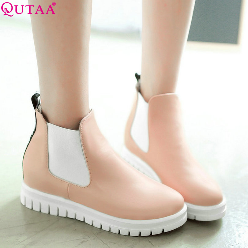 QUTAA Letter Shoes Zipper Woman Round Toe PU leather Wedge Med Heel Ankle Boots Women Shoes Ladies Motorcycle Boots Size 34-43<br><br>Aliexpress