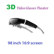 Hot selling 98inch virtual screen 16:9 lcd 3d virtual video glasses, portable private theater