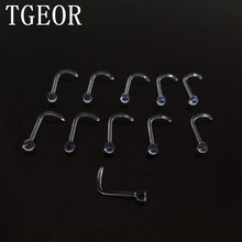 Free shipping wholesale 20G 50pcs nose stud fish tail transparent clear acrylic piercing retainer nose ring(China)