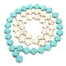 26pcs/pack 15mm*15mm Cross Loose Stones Beading Blue Created Natural Beads Necklace Bracelet DIY Finds F1185(China)