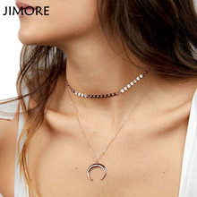 [JIMORE] Brief Sequin Necklace Moon Pendant Double-layers Clavicle Collares Copper Jewellery Bohemian Women Chokers Necklaces