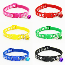 6 Colors Cute Puppy Dogs Collar with Bells Paw Printed Nylon Cat Kitten Supply Collars Pet Neck Strap Free shipping(China)