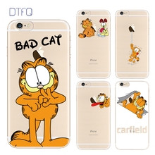 DTFQ Cartoon Garfield Cat Lovely Soft TPU Clear Back Cover for iPhone 8 7 7 Plus 6s Plus Fashion Phone Case Skin w/ Lanyard Hole