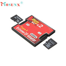Hot-sale 2 Port Micro SD TF SDHC To Type I 1 Compact Flash Card CF Reader Adapter For 64G Memory Card Max 1 pc