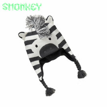 baby accessories Knitted Winter hats&caps for infant Boys Toddler Caps Ear Thick Wool Girl Hats Beanie Animal Zebra Cute Cap(China)