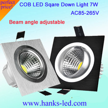 50PCS/LOT Factory newest LED high power  Recessed Ceiling Downlight COB square light 7W  white/black/sliver aluminum shell