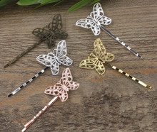 10pcs Vintage 6 Color Butterfly Hair Jewelry Charm Women Hairclip Word Folder Hairpins Hairclips Barrettes Retro Hair Wear