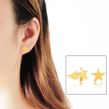 DIANSHANGKAITUOZHE Simple Brincos Boucle d'oreille Gold Stainless Steel Oorbellen Star Earrings For Women Men Aros Body Jewelry(China)