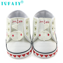 2017 Baby Girls Boys Lace-up Canvas Shoes Brand New Infant First Walkers Kids Non-slip Toddler Shoes Child Sneakers Bebe Sapatos(China)