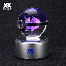 Charizard 3D Crystal Ball Pokemon Go Light Glass Ball Engraving Round With Black Line Ball LED Colorful Base Child's Gift