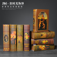 Old time European style simulation books, fake books, furnishings, offices, model rooms, props, bookcases, decorative books, win