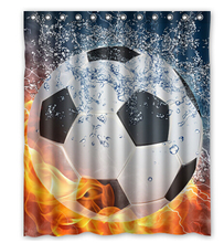 Soccer Ball Water and Fire Shower Curtain 160x180cm High quality Waterproof bath curtain