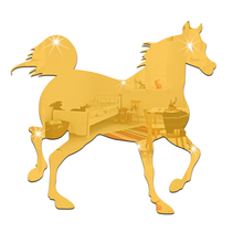 2017 Kids Acrylic Mirror Horse Wall Decal clocks Sticker Home Kitchen Decoration Interior Home MS361180