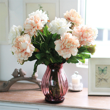 Party Fake flower 2 Flower Heads Floral Wedding Arrangement Home Wedding Decor silk peonies artificial peony bouquet